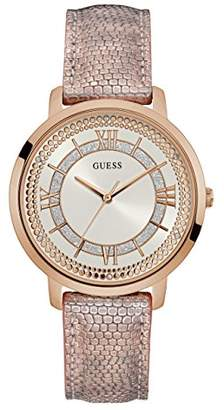 GUESS Women's Stainless Steel Textured Leather Strap Crystal Accented Watch