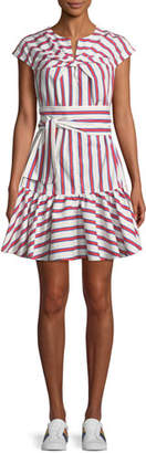 MSGM Twist-Front Belted Striped Cotton Shirtdress