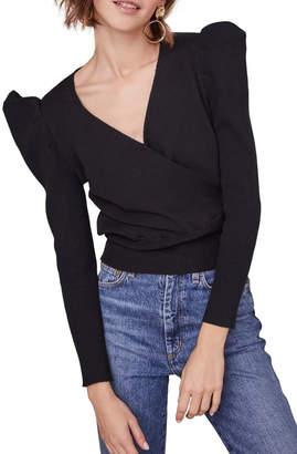 ASTR the Label Suki Surplice Puff Shoulder Sweater