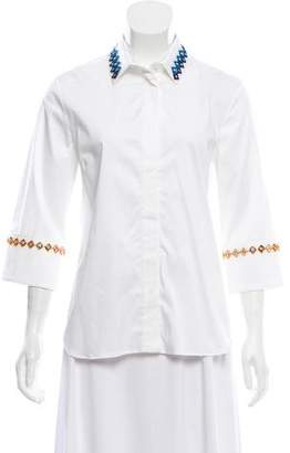 Mary Katrantzou Embellished Button-Up Top w/ Tags