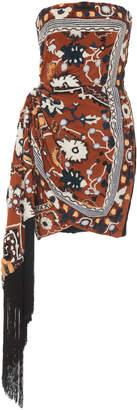 Oscar de la Renta Strapless Fringe-Trimmed Embroidered Velvet Mini Dress