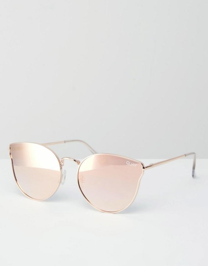 Quay Australia All My Love Rose Gold Metal Cat Eye Sunglasses with Flat Mirror Lens