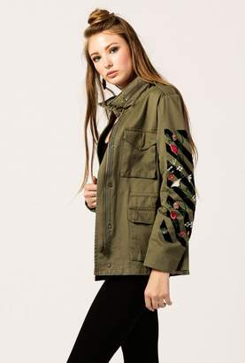Azalea Embroidered Zip Up Jacket