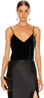 Galvan Velvet Camisole Top in Dark Hunter Green | FWRD