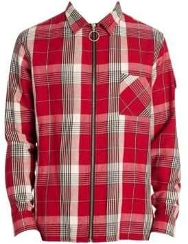 Off-White Men's Diagonal Zip Check Cotton Shirt - Red Multi - Size Large