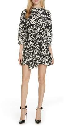 Tanya Taylor Mel Block Print Ruffle Silk Dress