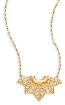 Ron Hami Diamond& 18K Yellow Gold Fan Pendant Necklace