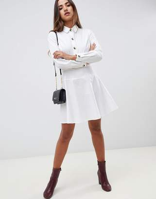 Asos Design DESIGN cotton mini skater shirt dress with long sleeves