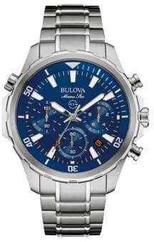 Bulova Marine Star Blue Face Stainless Steel Chronograph Diving Watch- 96B256