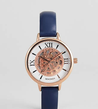 Sekonda Exposed Mechanics Leather Watch In Navy Exclusive To ASOS