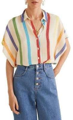 MANGO Oversized Stripe Shirt