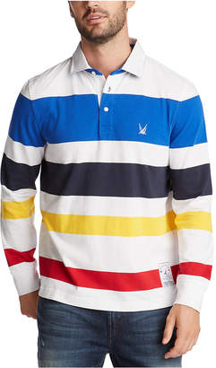 Nautica Men Blue Sail Striped Long Sleeve Rugby Polo Shirt