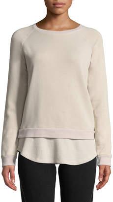 Monrow Double-Layer Raglan Pullover Sweatshirt