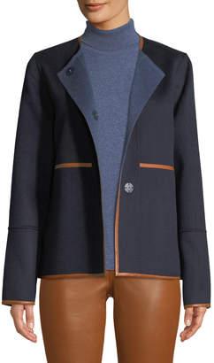 Lafayette 148 New York Rayen Reversible Two-Tone Jacket w/ Leather Trim