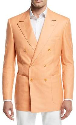 Stefano Ricci Tonal-Stripe Double-Breasted Sport Coat, Orange