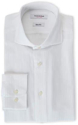 Isaac Mizrahi White Stripe Slim Fit Dress Shirt