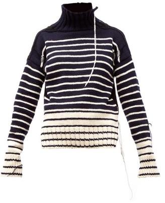La Fetiche - Maurice Distressed Striped Wool Sweater - Womens - Navy White