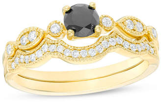 Zales 7/8 CT. T.W. Enhanced Black and White Diamond Vintage-Style Bridal Set in 14K Gold