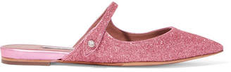 Tabitha Simmons Kittie Crystal-embellished Glittered Leather Slippers - Pink