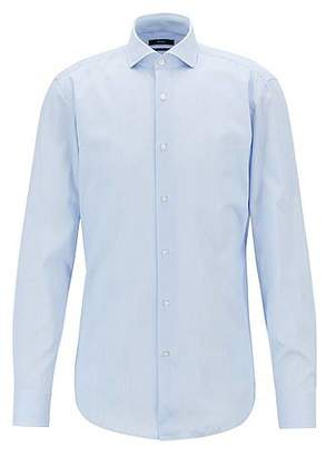 HUGO BOSS Slim-fit shirt in cotton twill with fine stripes