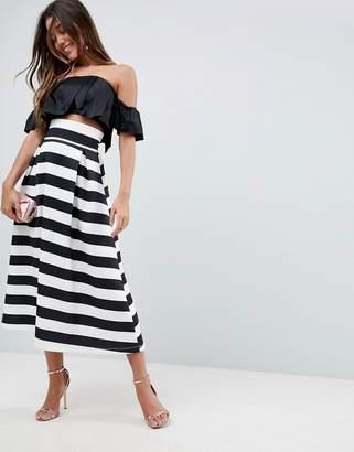 Asos Design High Waisted Scuba Midi Prom Skirt in Stripe