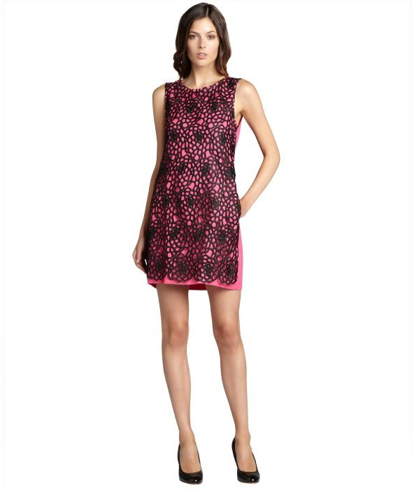 ABS by Allen Schwartz fuschia lace overlay pocketed sleeveless linen dress