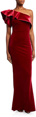 Chiara Boni One-Shoulder Ruffle Velvet Column Gown