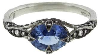 Cathy Waterman Blue Sapphire and Diamond Petal Ring