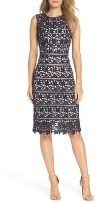 Eliza J Sleeveless Lace Sheath Dress