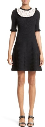 Women's Red Valentino Lace Trim Rib Knit Dress $795 thestylecure.com