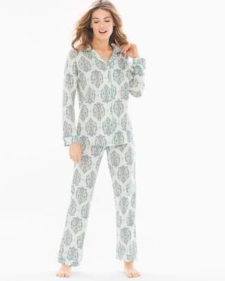 BedHead Knit Cotton-Blend Pajama Set Blue/Green Casa Paisley