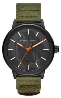 Armani Exchange Maddox Three-Hand Green Nylon Watch