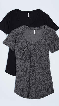 Z Supply Leopard & Solid Tee 2 Pack