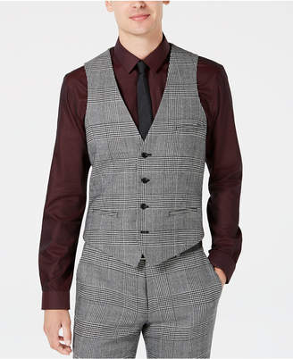 Bar III Men's Slim-Fit Black/White Plaid Suit Vest