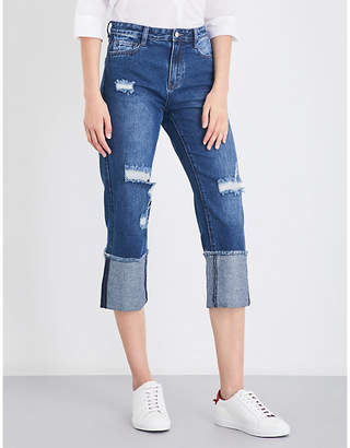 Mo&Co. Distressed cropped high-rise jeans
