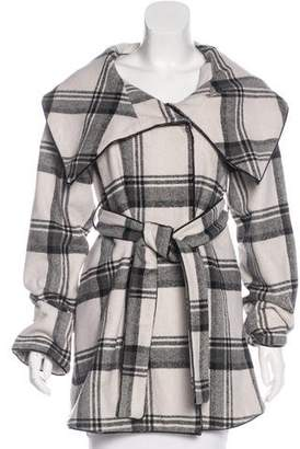 Intermix Plaid Knee-Length Coat w/ Tags