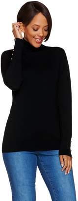 Susan Graver Rayon Nylon Turtleneck Sweater w/ Button Detail