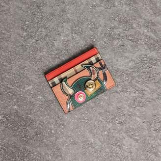 Burberry Creature Appliqué Leather Card Case