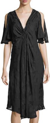 Nanette Lepore Nanette Flutter-Sleeve Drape-Front Jacquard Dress
