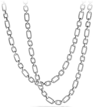 David Yurman 'Chain' Long Cushion Link Necklace with Blue Sapphires