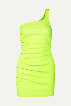 Sprwmn One-shoulder Ruched Neon Leather Mini Dress - Yellow