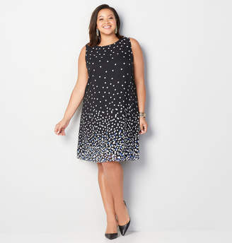 Avenue Polka Dot Overlay A-Line Dress