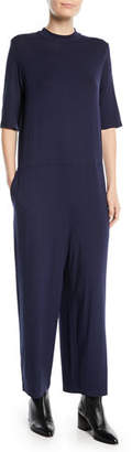 Eileen Fisher Half-Sleeve Mock-Neck Jersey Jumpsuit, Petite