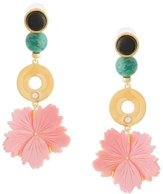 Lizzie Fortunato beaded drop flower earrings