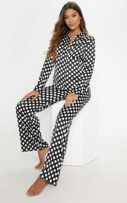 853a1eb5f6 PrettyLittleThing Monochrome Polka Print Long Sleeve Satin Pyjama Set