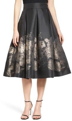 Women's Eliza J Pleated Mikado Midi Skirt $168 thestylecure.com