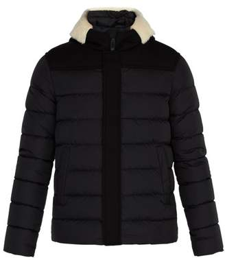 Herno Shearling Trimmed Quilted Down Coat - Mens - Black