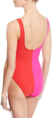 Karla Colletto Sorella Colorblock V-Neck Underwire One-Piece Swimsuit