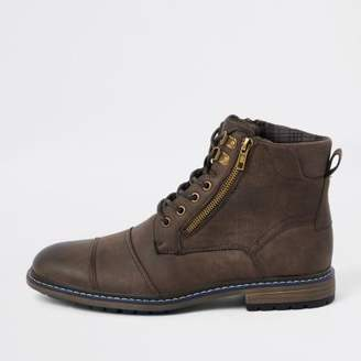 River Island Dark brown lace-up military boots
