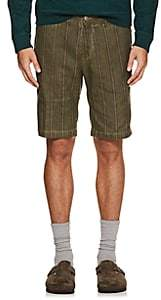 Massimo Alba Men's Striped Linen-Cotton Shorts - Green
